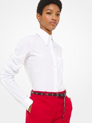 Michael Kors Poplin Scrunched-Sleeve Shirt