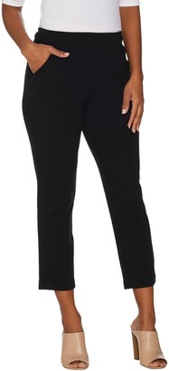 Belle By Kim Gravel Ponte Cropped Pants w/ Goldtone Zipper