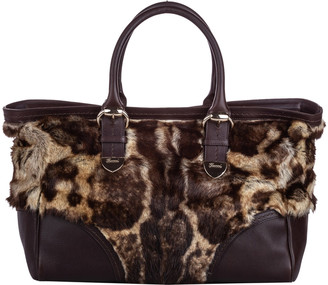 Gucci Brown Fur Leater Signoria Tote Bag