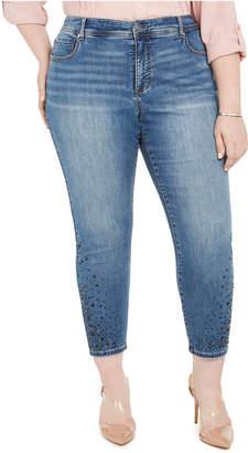 INC International Concepts Inc Plus Size Rhinestone Ankle Skinny Jeans