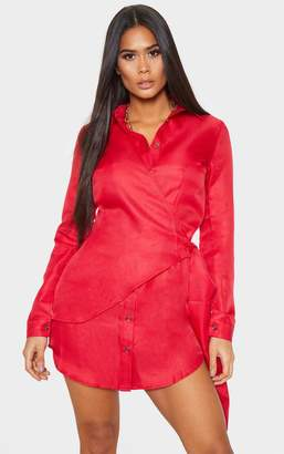 PrettyLittleThing Red Tortoise Button Wrap Tie Shirt Dress