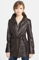 Ellen Tracy Leather Trench Jacket (Regular & Petite)