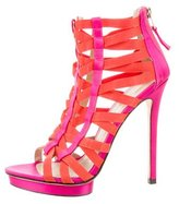 Brian Atwood Satin Caged Sandals
