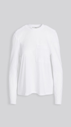 Tibi Tess T-Shirt with Detachable Shoulder Pads