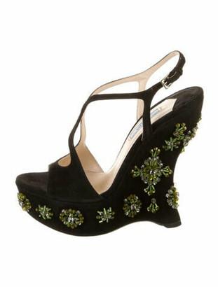 Prada Suede T-Strap Sandals Black