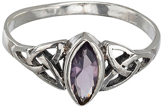 Marquis Ag Sterling Jewelry Women's Rings Silver, - Purple Cubic Zirconia & Sterling Silver Celtic-Style Ring
