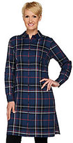 As Is Studio by Denim & Co. Button Front Plaid Shirt Duster