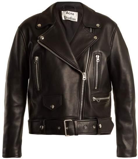Acne Studios Merlyn Oversized Leather Biker Jacket - Womens - Black