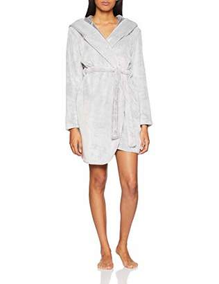 Boux Avenue Women's Hooded Waterfall Robe Dressing Gown, (Grey Marl Mix Ey), Large (Size: L)