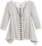 Beautees Cross-Back Handkerchief-Hem Stripe Top & Necklace, Big Girls (7-16)