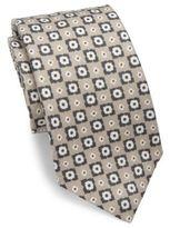 Isaia Floral Check Linen Tie
