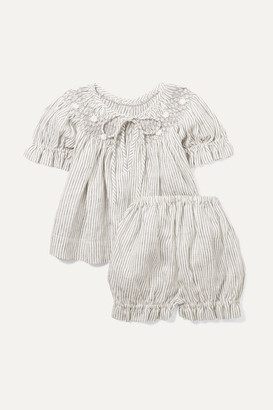 Innika Choo Kids - Smocked Striped Linen Blouse And Shorts Set - Gray