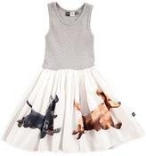 Molo Cassandra Ribbed Jersey & Poplin Dachshund Dress, Gray, Size 2T-10