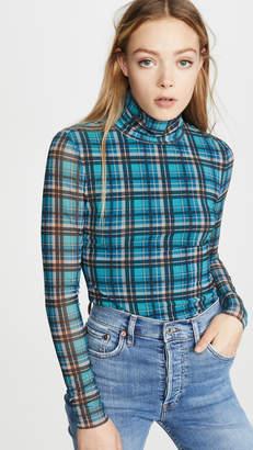 Rebecca Taylor Long Sleeve Plaid Mesh Jersey Top