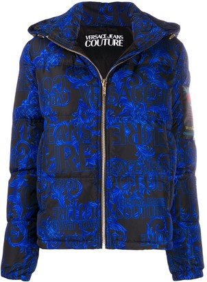 Versace Hooded Baroque-Print Puffer Jacket