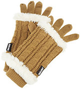 Muk Luks 3-in-1 Cable Knit Gloves with Faux Fur
