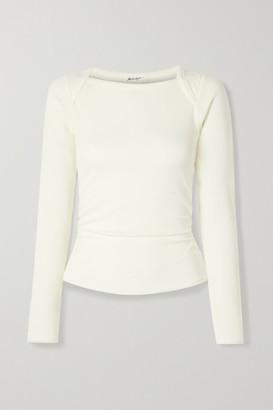 The Line By K Becks Ruched Ribbed Stretch-jersey Top - White