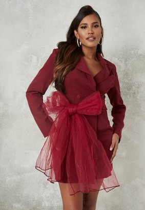 Missguided Burgundy Mesh Bow Blazer Dress