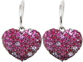 Effy Jewelry Effy 925 Sterling Silver Ruby and Pink Sapphire Heart Earrings