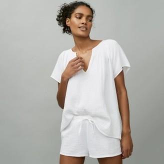 The White Company Double-Cotton Short Pyjama Set, White, Medium