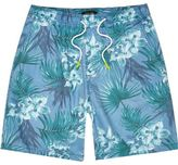 River Island MensBlue tropical print shorts
