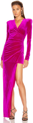 Alexandre Vauthier for FWRD Ruched Velvet Gown in Fuchsia | FWRD