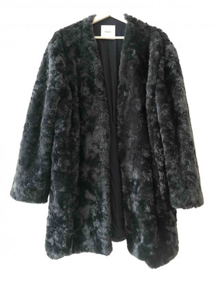 MANGO Blue Faux fur Coats