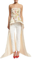 Monique Lhuillier Strapless Embroidered Peplum Top w/ Train, Cream/Multi