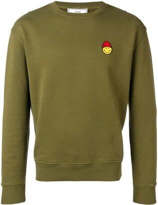 Ami Paris Crew Neck Sweatshirt Smiley Patch