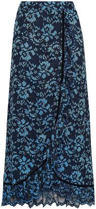 Ganni Flynn Ruffled Velvet-trimmed Lace Maxi Skirt