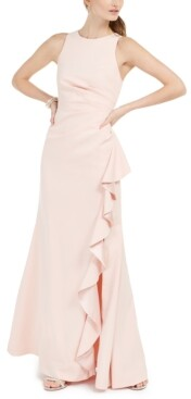 Vince Camuto Petite Ruffled Slit Gown
