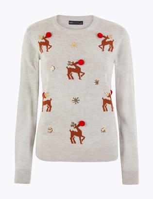 M&S CollectionMarks and Spencer Reindeer Embellished Christmas Jumper