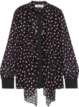 Diane von Furstenberg Minnie Flocked Floral-print Silk-blend Chiffon Blouse