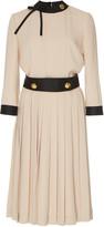 Prada Button-Detailed Pleated Crepe Midi Dress