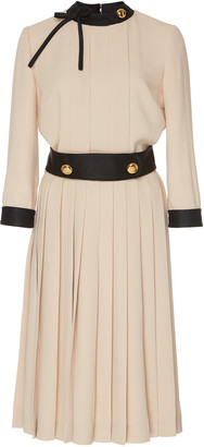 Prada Button-Detailed Pleated Crepe Midi Dress