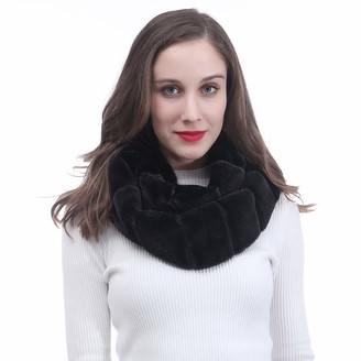 Lina & Lily Faux Fur Winter Double Loop Snood Scarf (Black)
