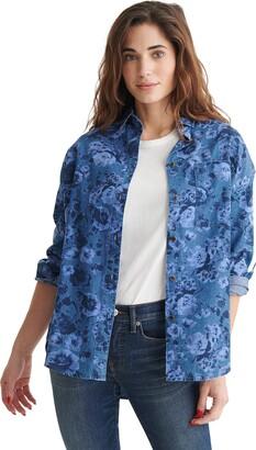 Lucky Brand Women's Long Sleeve Button Overdye Boyfriend Shirt