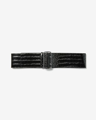 Express Crocodile Textured Wide Double Prong Belt