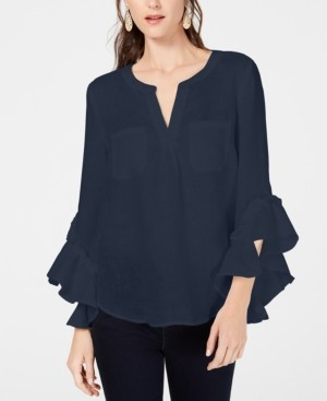 INC International Concepts Inc Petite Ruffled-Cuff Split-Neck Linen Top, Created for Macy's