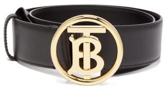Burberry Tb-logo Leather Belt - Black
