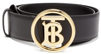 Burberry Tb-logo Leather Belt - Womens - Black