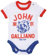 John Galliano Cotton Jersey Body, Bib & Hat Set