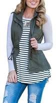Tutorutor Women's Military Safari Utility Drawstring Lightweight Vest Jacket With Pocket