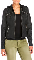 Joujou jou jou Hooded Faux Leather Moto Jacket