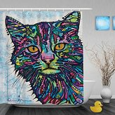 CafeTime Custom Cats Shower Curtains Colorful Art Animals Decor Bathroom Shower Curtains Waterproof Polyester Fabric Bathroom Curtain For Gift 60x72Inch