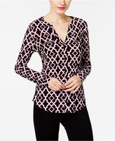 INC International Concepts Petite Printed Zip-Pocket Top, Only at Macy's