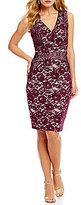 Sangria Illusion Lace Sheath Dress