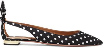 Aquazzura Deneuve Bow-embellished Polka-dot Twill Point-toe Flats