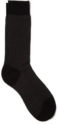 Pantherella Fabian Herringbone Cotton Blend Socks - Mens - Black