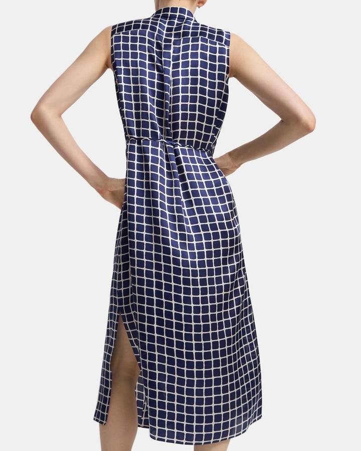 Theory Sleeveless Shirtdress in Tile Print Satin